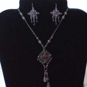 Amethyst Necklace & Earrings Set. Unbranded
